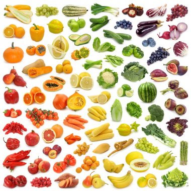 Rainbow collection of fruits and vegetables stock vector