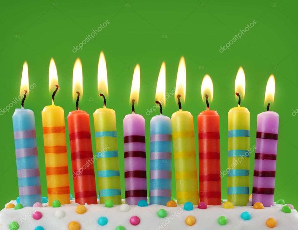 Ten colorful candles