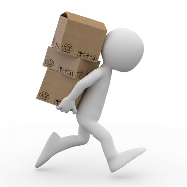 Man running with several boxes in the back