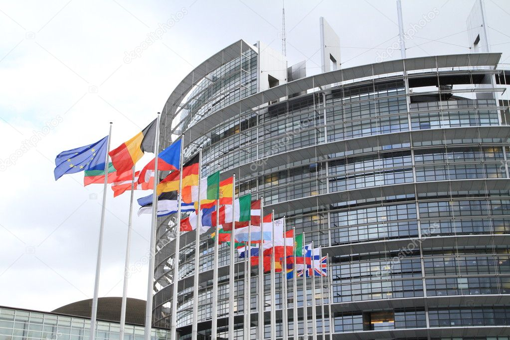 European parliament and flags of the european nations