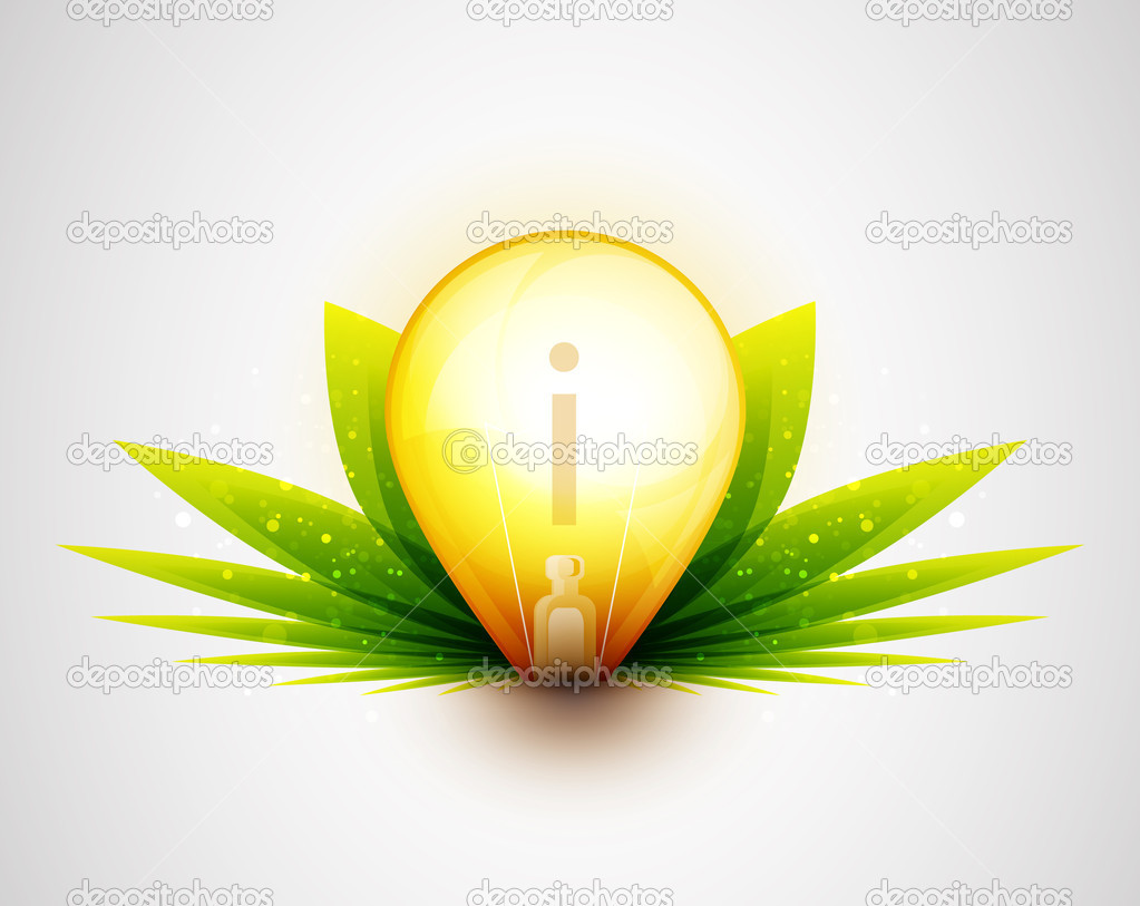 Light bulb and green leaves nature concept