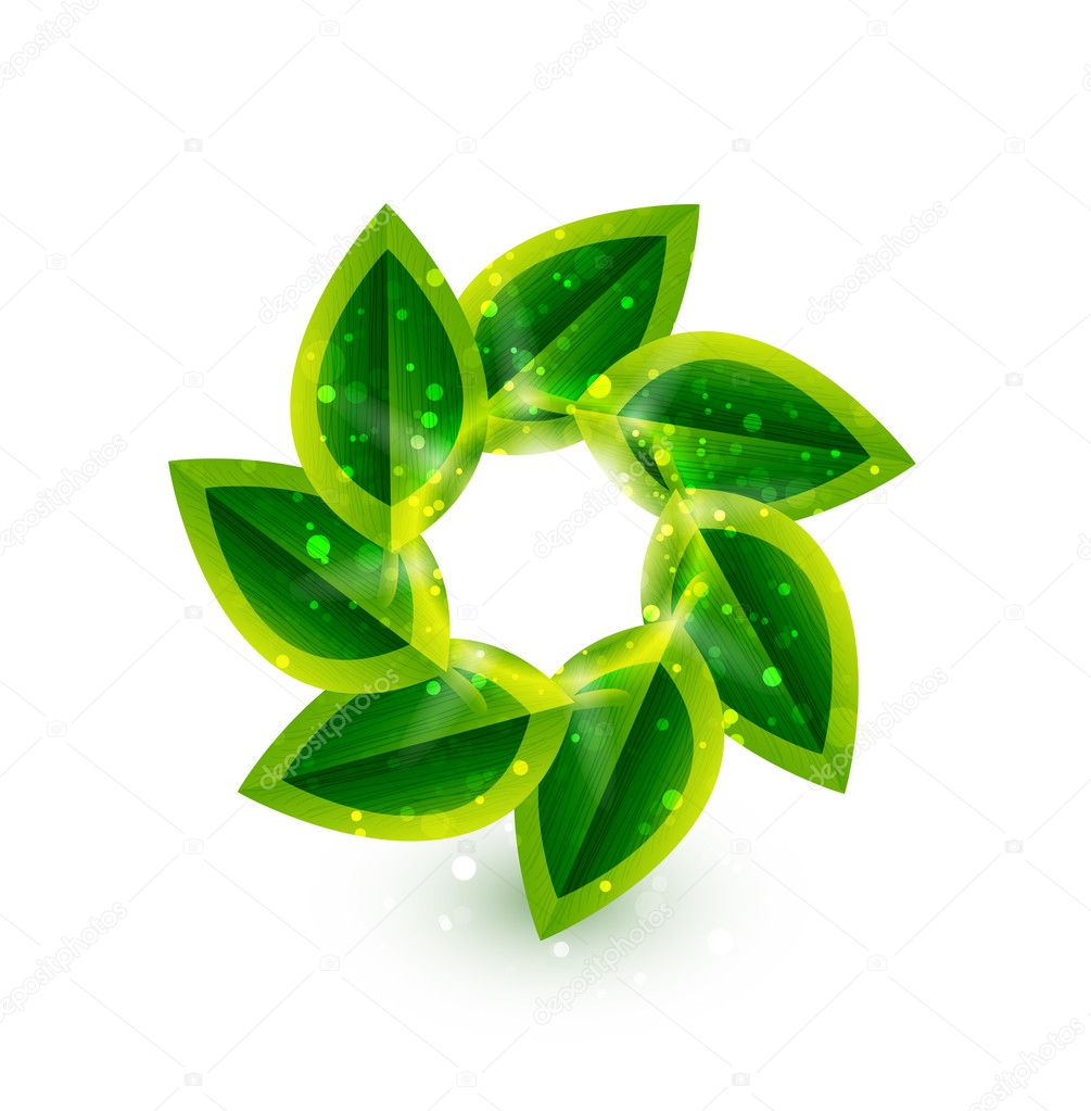 Vector green leaves in a circle