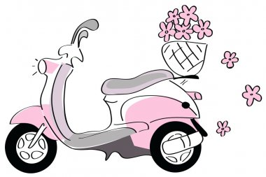 Pink scooter with flowers