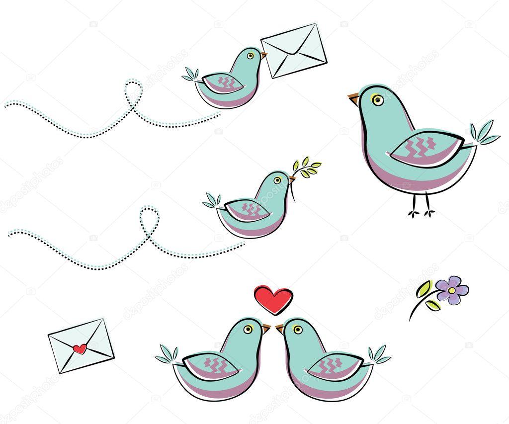 con el pájaro azul — Vector de stock © Volchonok #5676322