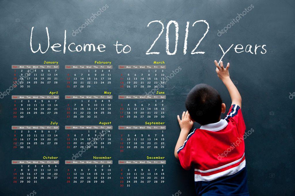 2012 calendar with a boy