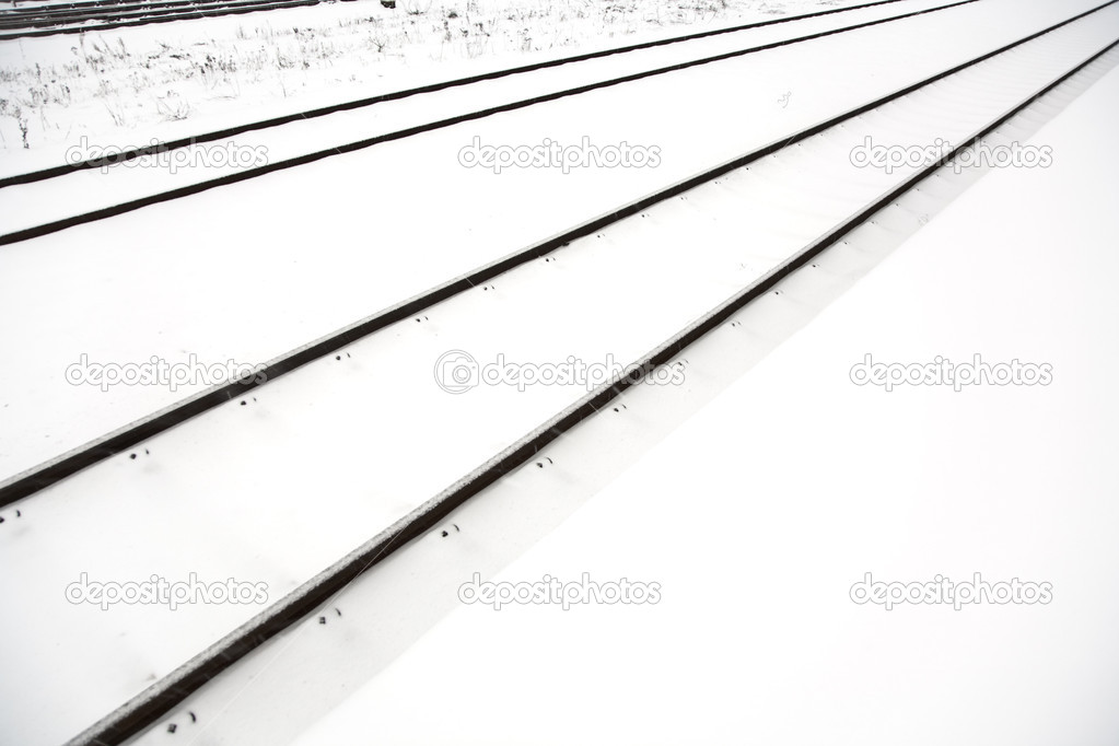 Rails in snow furry covered by snow
