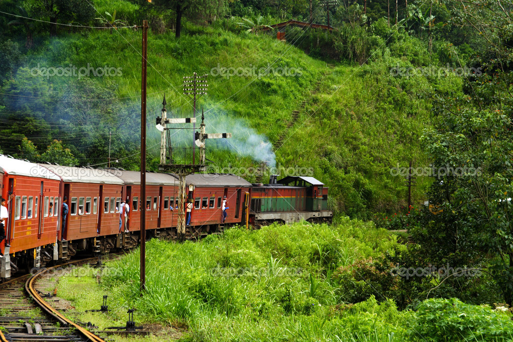 Riding by train the scenic mountain track from Nuwarelia to Colombo