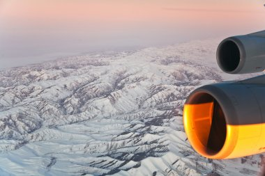 Beautiful view from the aircraft to the mountains in Tashkent, c