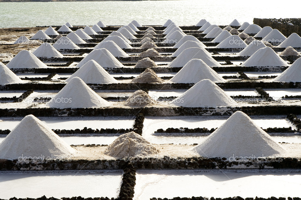 Salt piles on a saline exploration