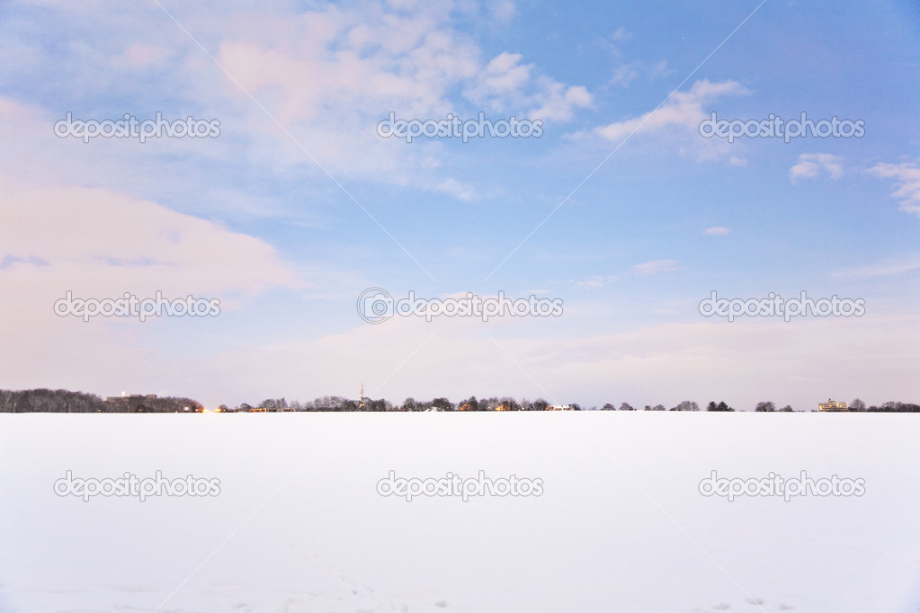 Flatland with snow in winter with trees