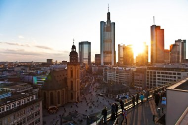 Sunset with skyscraper in Frankfurt downtown