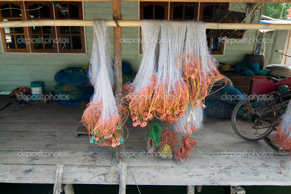Fishing net will be dried in a small village
