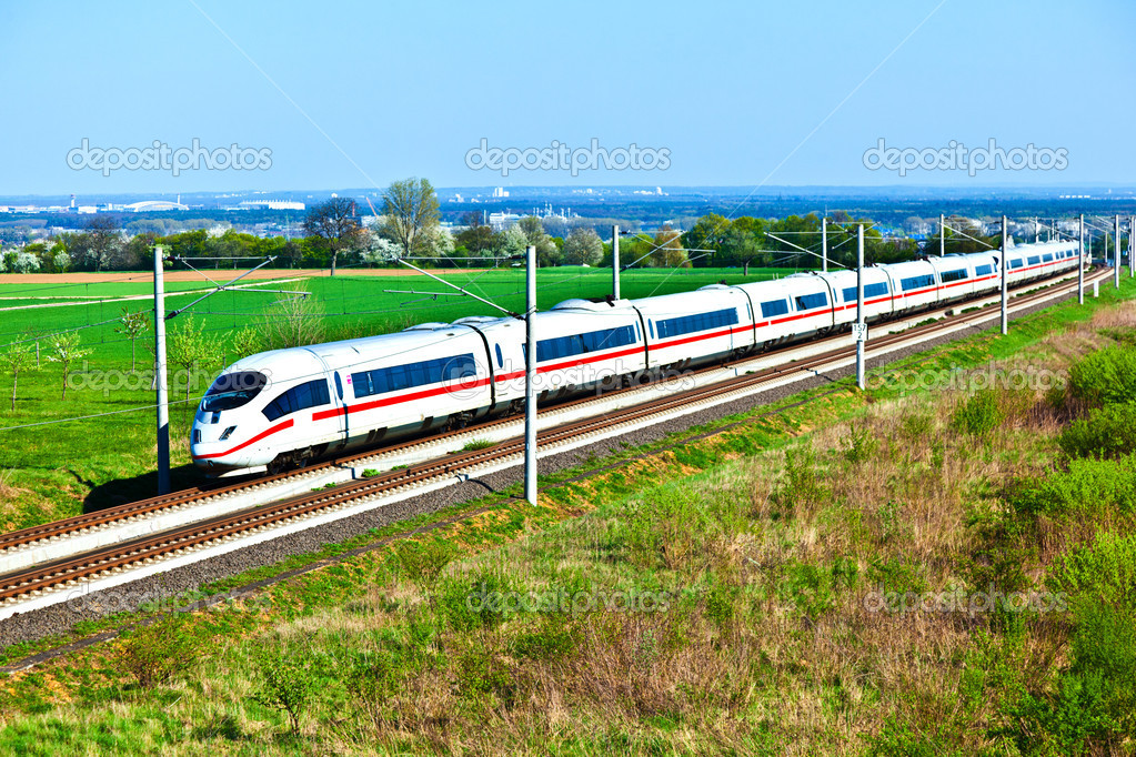 High speed train in open area