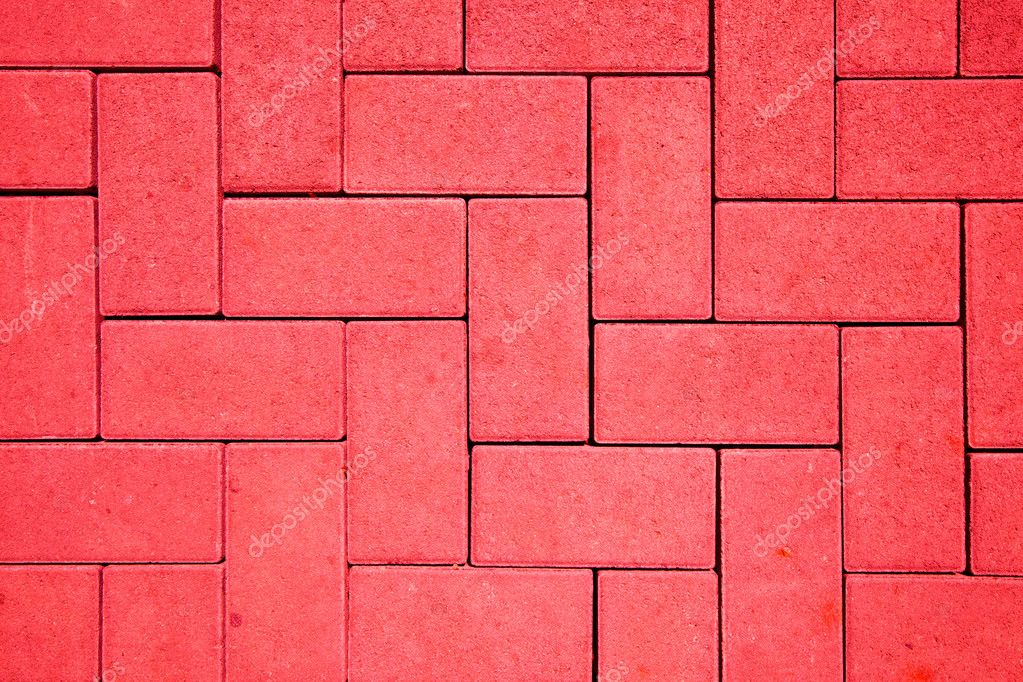 Pavement pattern made with cast concrete blocks in red color