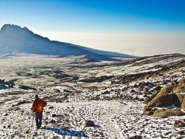 Climbing the Mount Kilimanjaro, the highest mountain in Africa (5892m)
