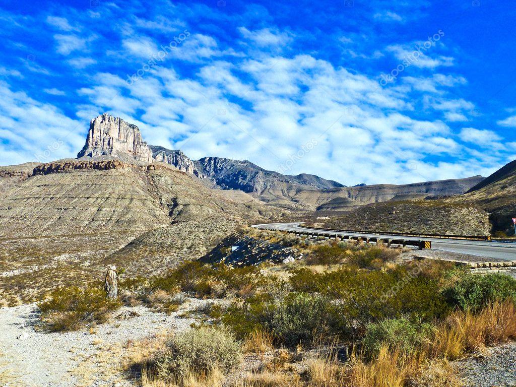 Beautiful scenic road in New Mexico in rocky landscape
