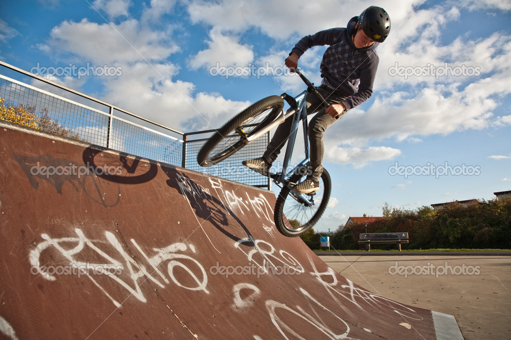 Boy with bike at the skate park