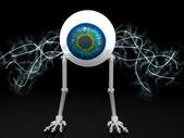 Oko robot s elektrické dráty s ořezovou cestou