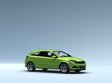 Conceptual green car with clipping path