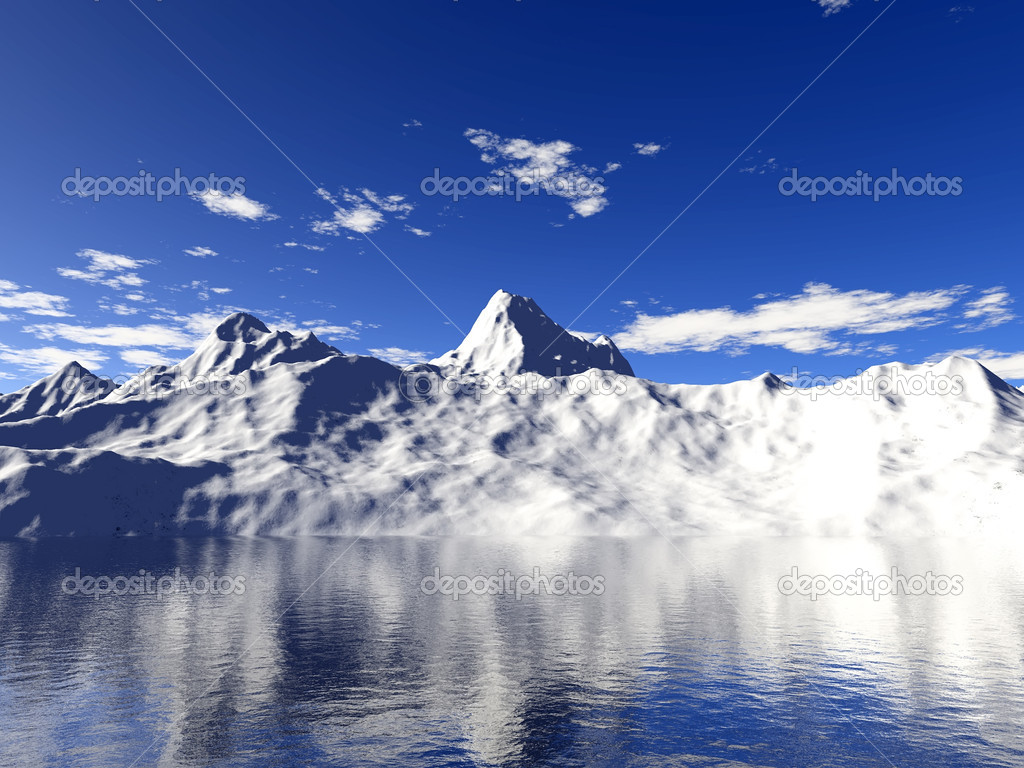 Snow mountain with water reflection