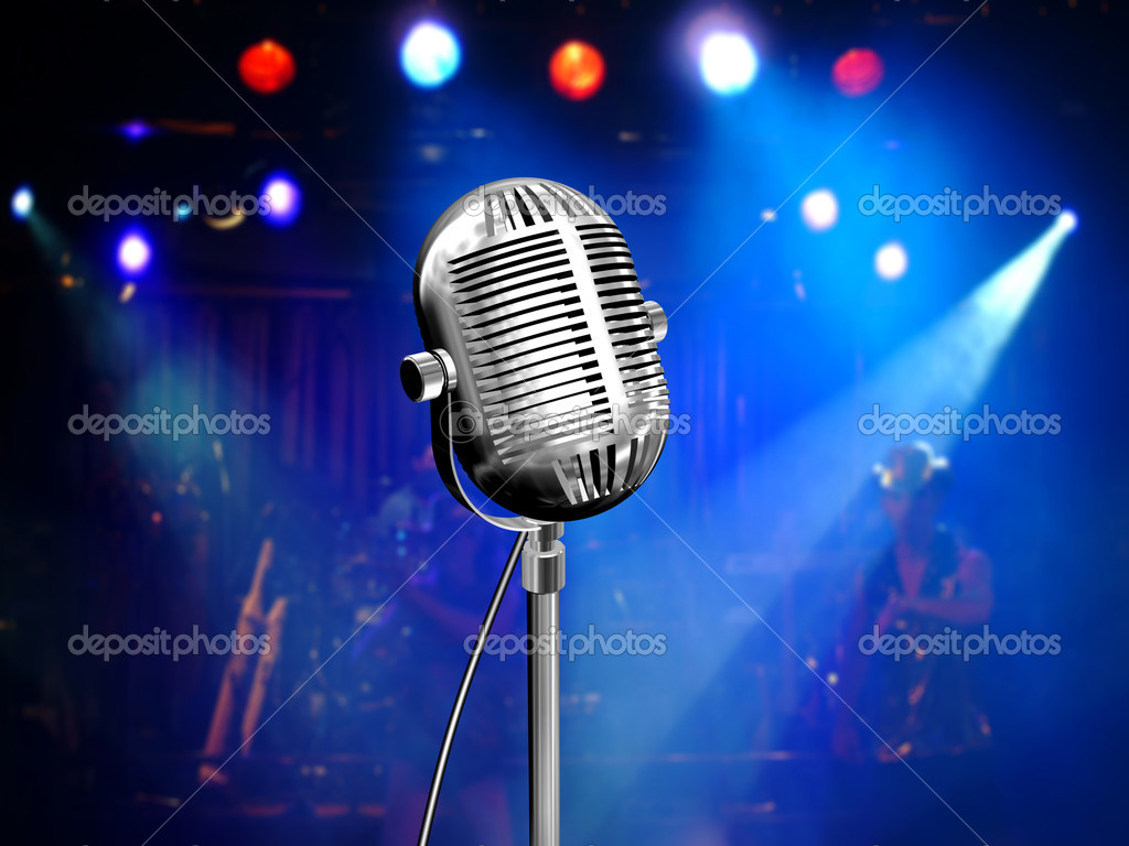 Music background with vintage microphone and concert - Microphone wallpaper ...