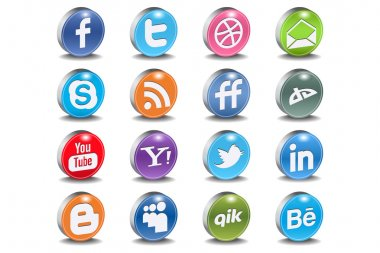 Glossy Vector Social 3d Icons