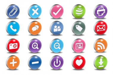 3d vector beveled useful icon set