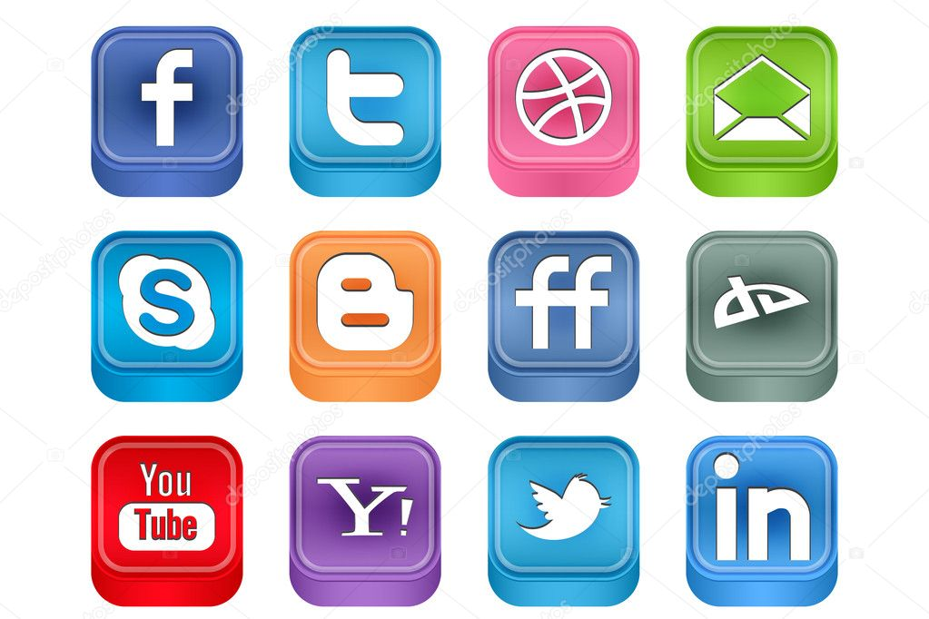 Vector Realistic Inset Social Media Icons