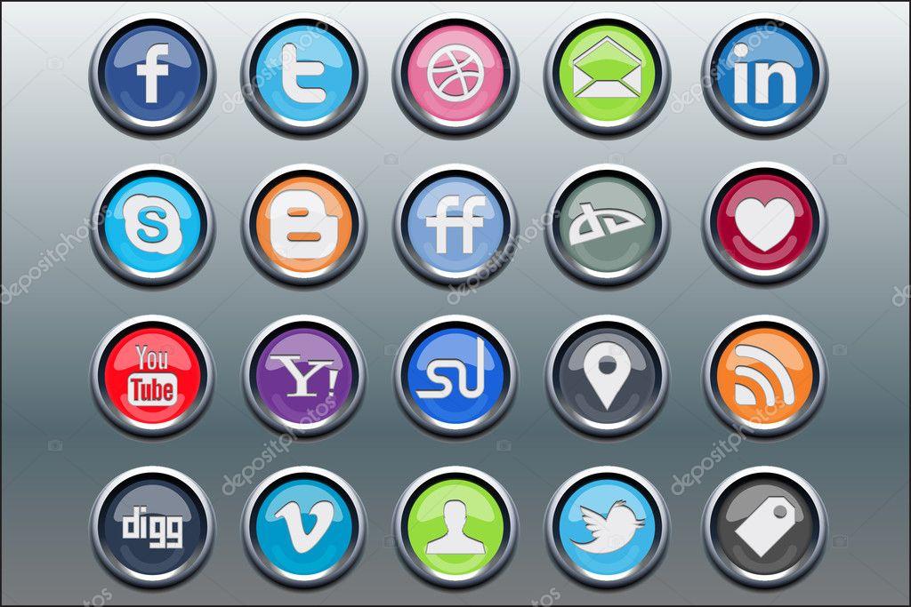 20 silver inset social media icons