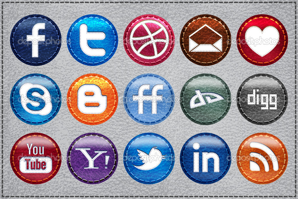 Leather Glossy Social Media icons