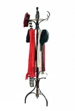 Coat Rack with Hats and Scarves