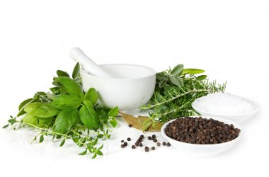 Mortar and Pestle with Herbs and Spices
