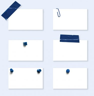 White Labels with Blue Fasteners