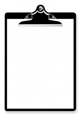 Blank paper on black clipboard, ready for your message. stock vector