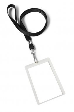 Security ID pass on a black lanyard. Isolated on white, ready for your text. stock vector