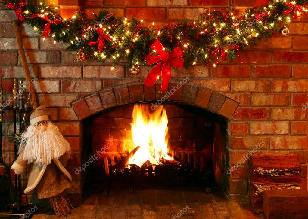 Christmas Fireplace Part - 17: Christmas Fireplace U2014 Stock Photo