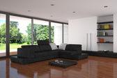 moderní obývací pokoje s parketovou podlahou