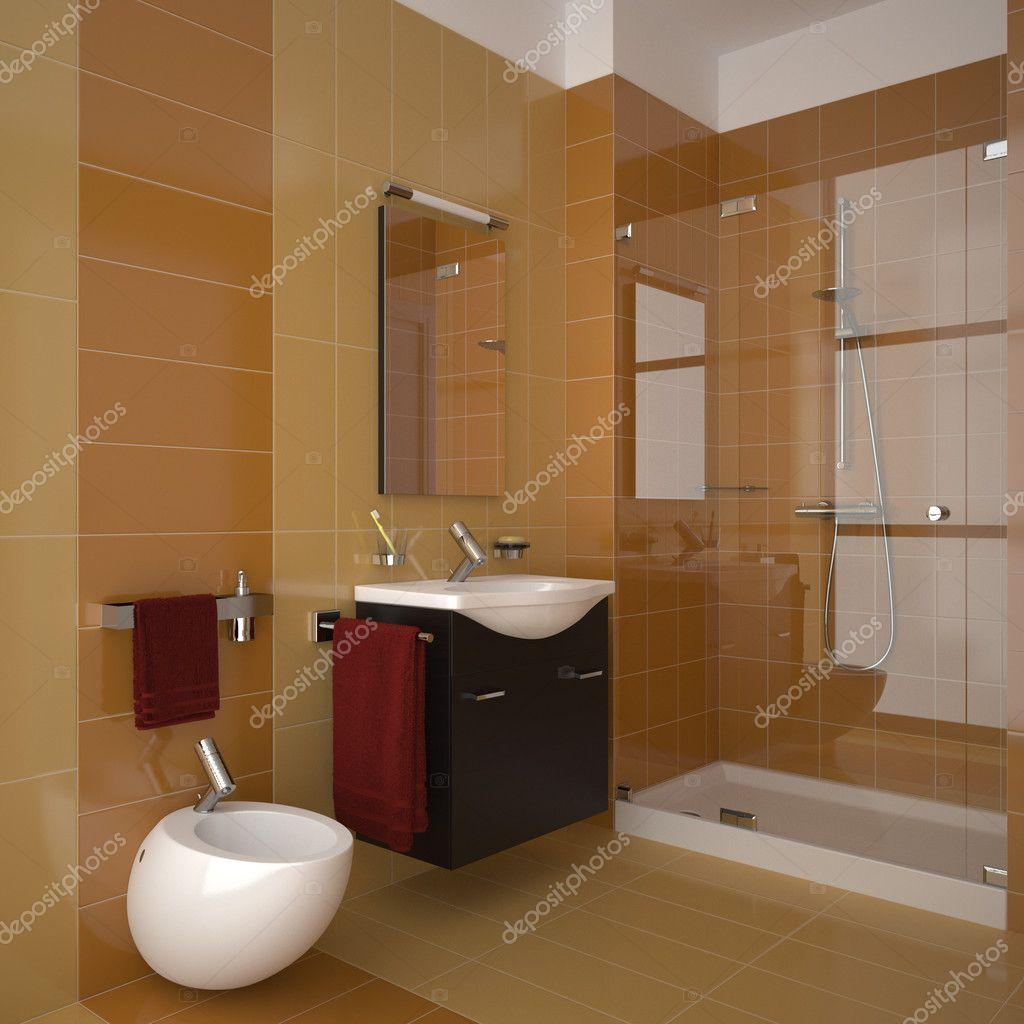 Moderno cuarto de ba o naranja fotos de stock anhoog - Cuarto bano moderno ...