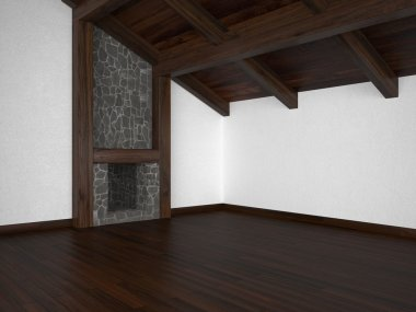 Empty living room with fireplace and roof beams