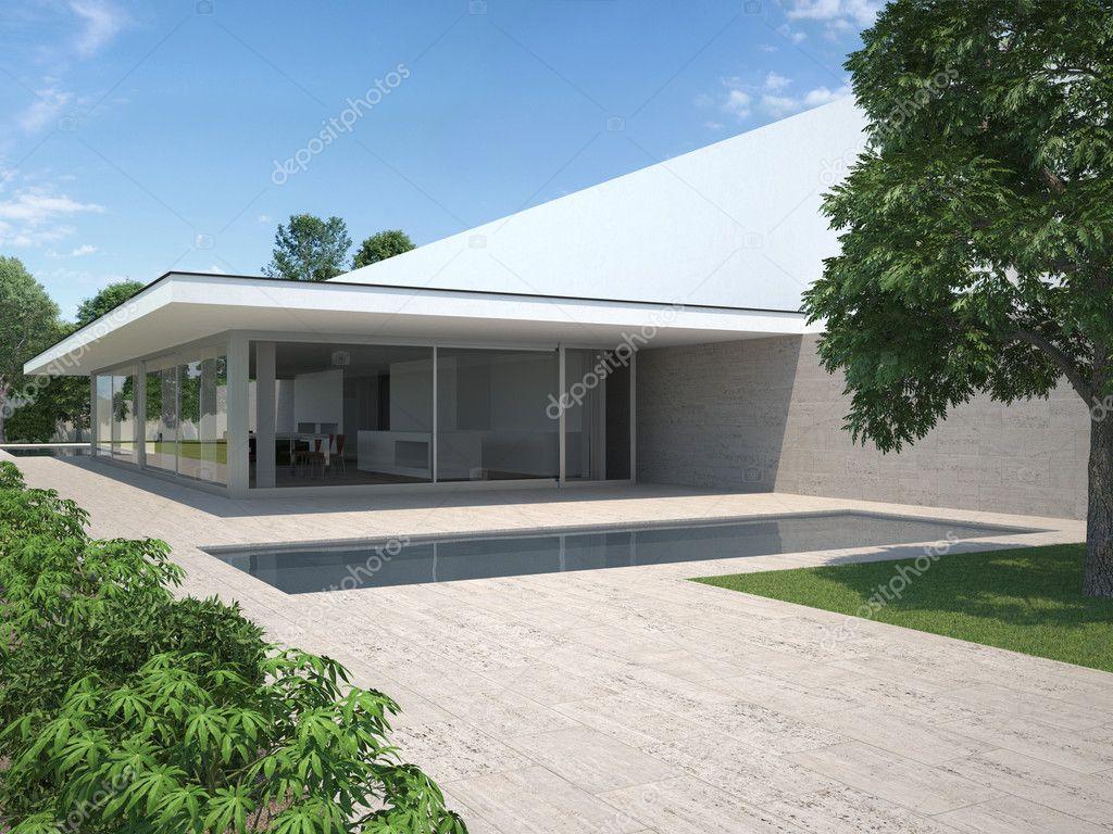 modernes Haus mit Pool und Garten — Redaktionelles Stockfoto ...