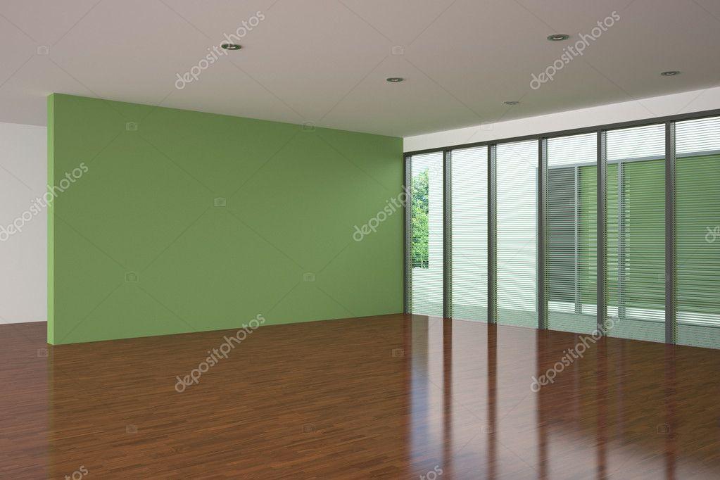 Pareti Salotto Verde : Moderno salotto vuoto con parete verde u2014 foto stock © anhoog #5780323