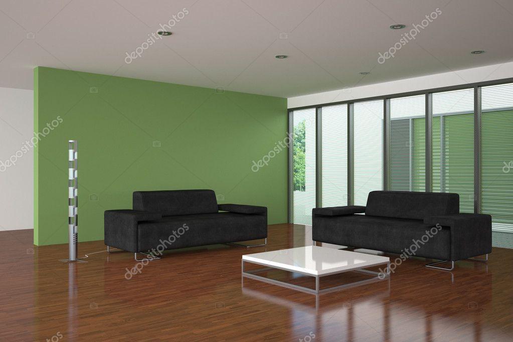 moderne Wohnzimmer mit grüne Wand — Stockfoto © anhoog #5780336