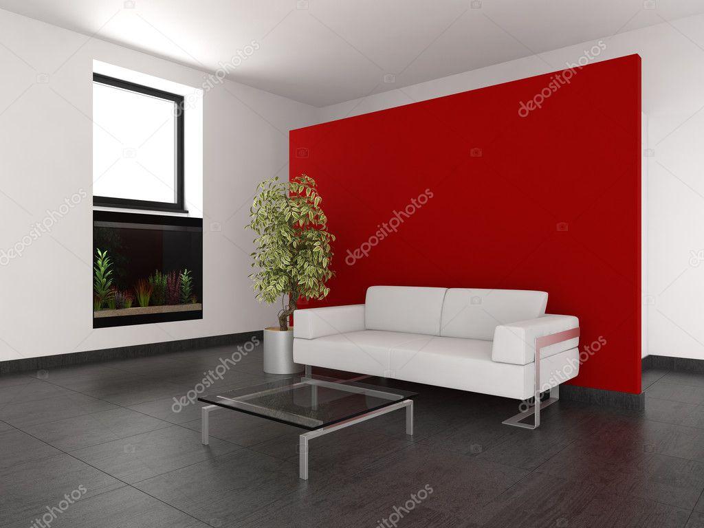 moderno soggiorno con parete rossa e acquario foto stock