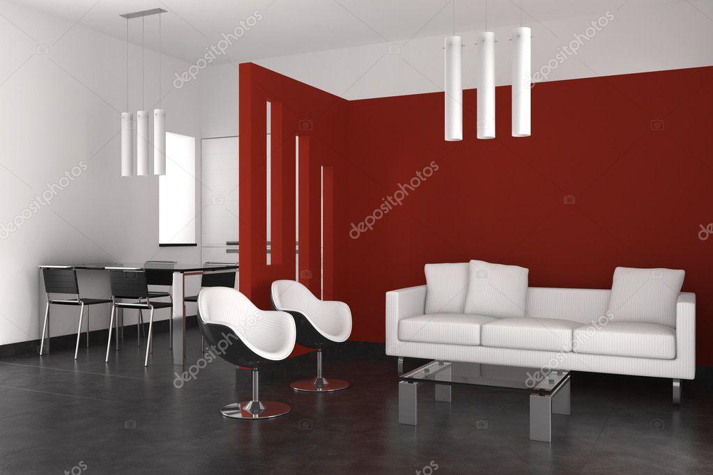 Modern interieur met woonkamer eetkamer en keuken stockfoto anhoog 6069388 - Moderne eetkamer en woonkamer ...
