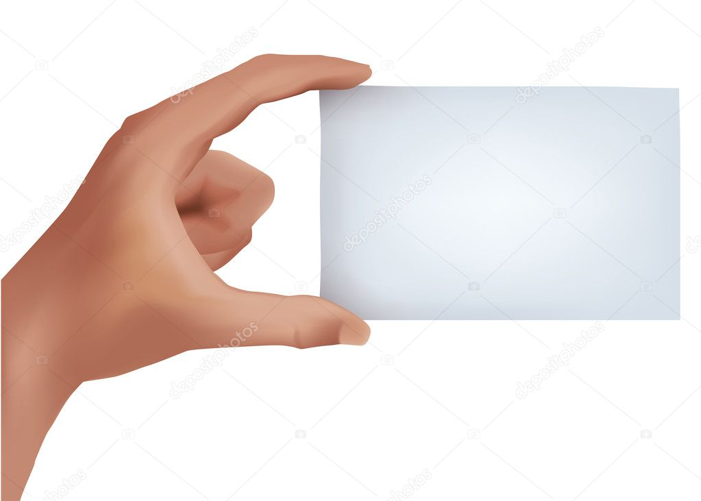 Hand holding blank business card — Stock Vector © Noedelhap #5967960