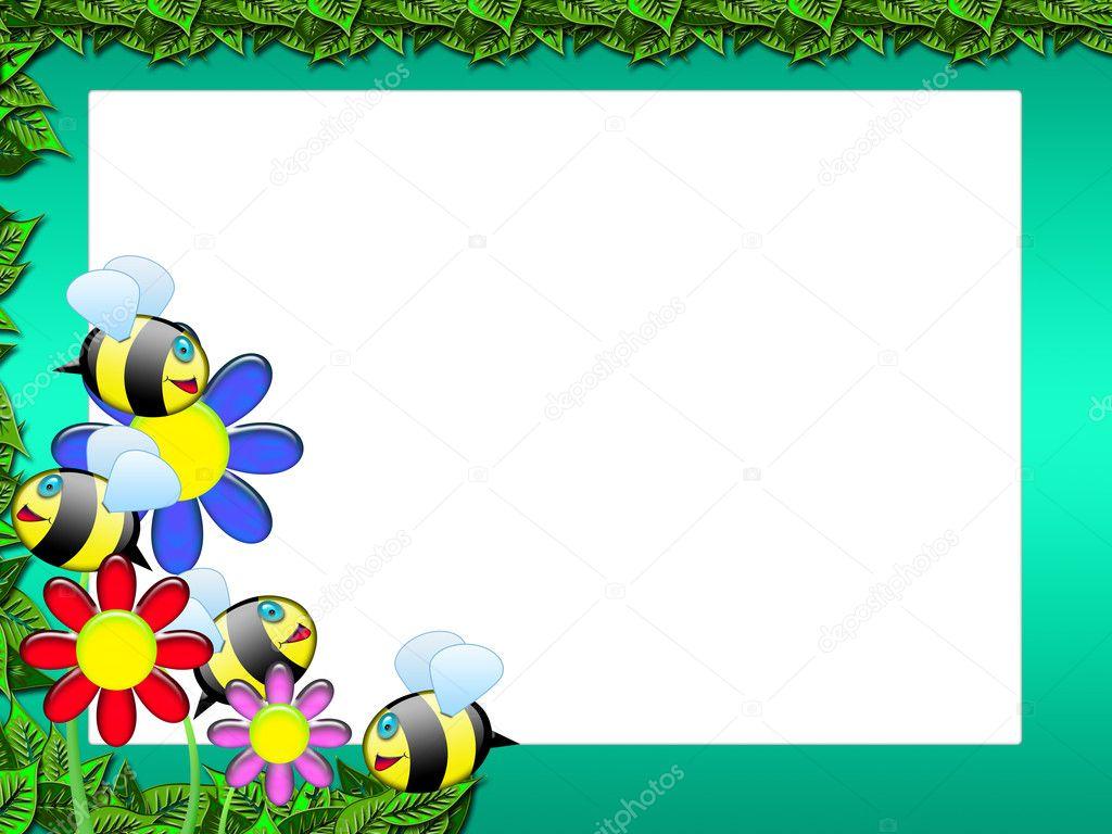 Bee frame - floral scrapbook