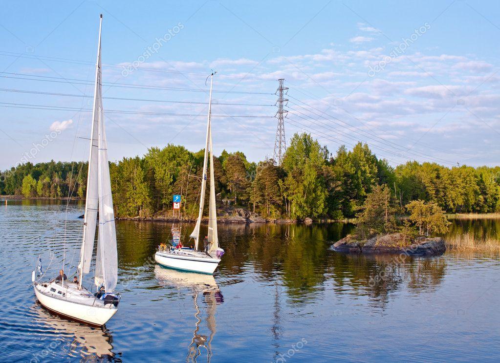 Yachts on a lake