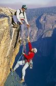 Fotografia squadra a raggiungere la vetta di arrampicata