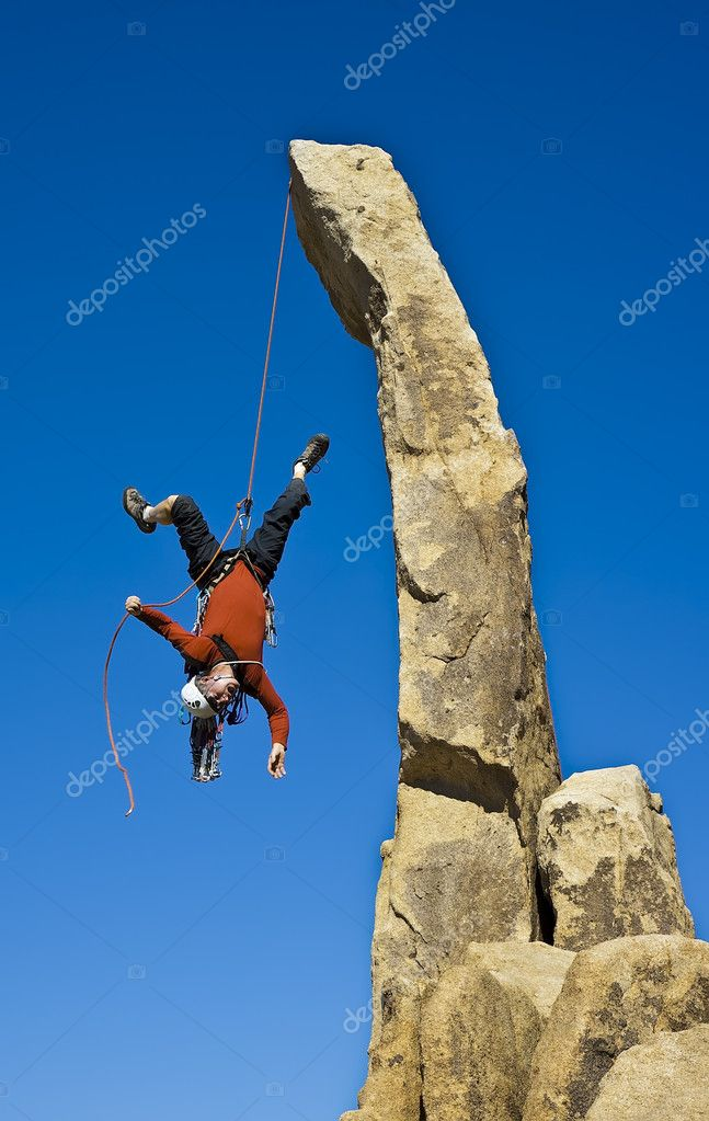 Rock climber falling upside down. — Stock Photo ...