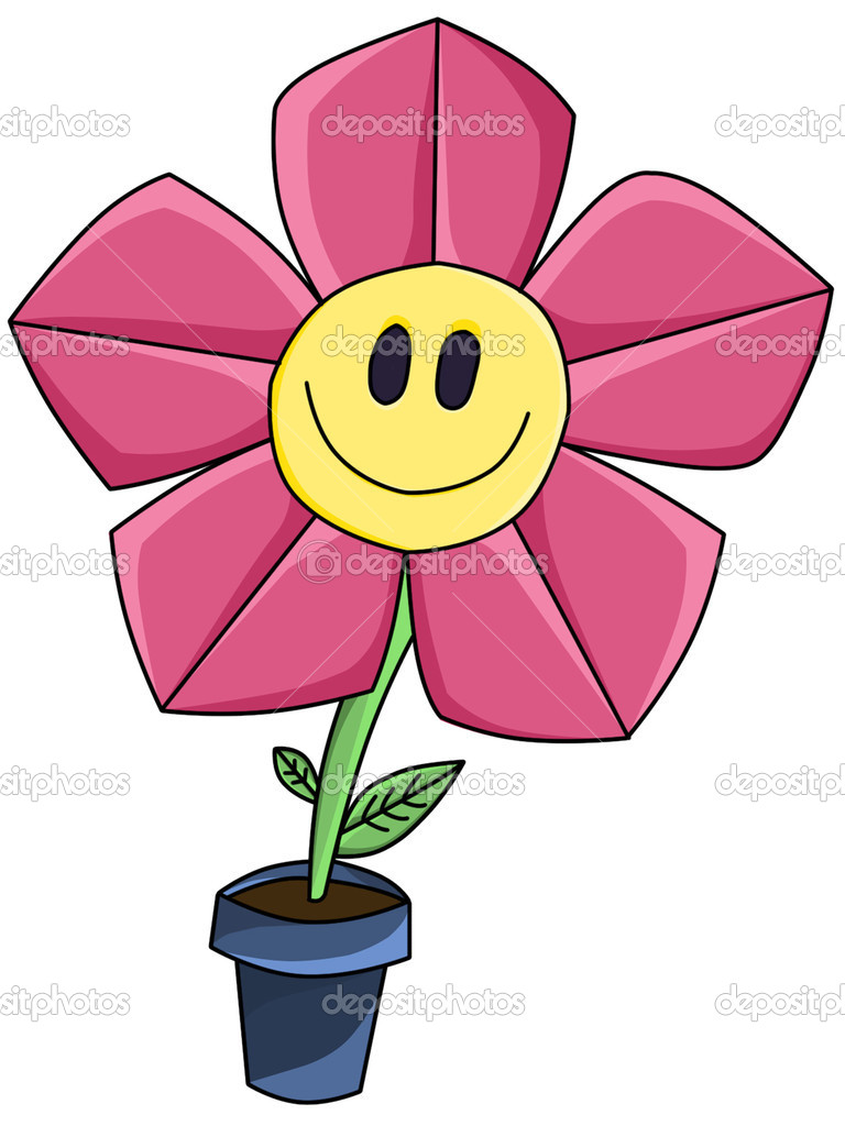 Pink Cartoon Flower Smile Stock Photo Pandora90 5548116